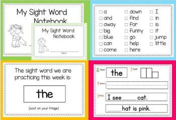 Sight Word Journal (Pre-Primer Set 2)