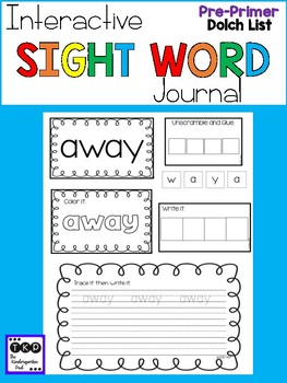Interactive Sight Word Journal - Pre-Primer