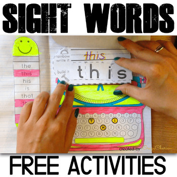 Sight Word Activities - Free Interactive Notebook (Typewriters)