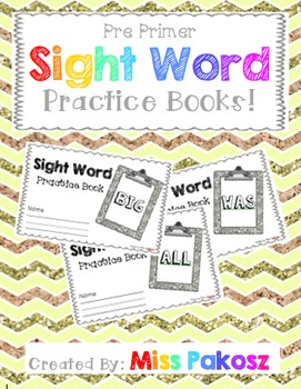 NO PREP Interactive Sight Word Practice Books - PrePrimer Edition with FREEBIE!