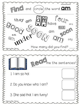 NO PREP Interactive Sight Word Practice Book - AM