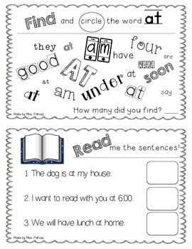NO PREP Interactive Sight Word Practice Book - AT