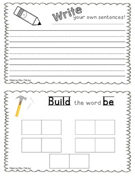NO PREP Interactive Sight Word Practice Book - BE