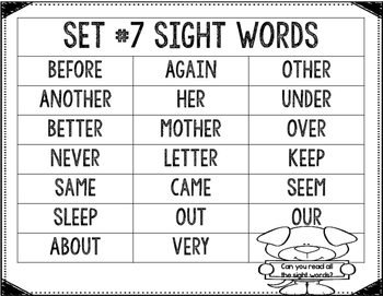 Interactive Sight Word Practice-SET #7 (activities, games, and much more)