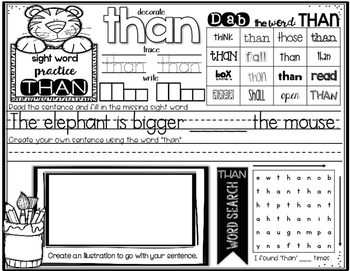 Interactive Sight Word Practice-SET #8 (activities, games, and much more)