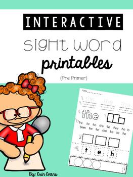 Interactive Sight Word Printables (No Prep) - Pre Primer Words