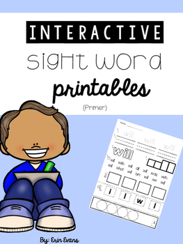 Interactive Sight Word Printables (No Prep) - Primer Words