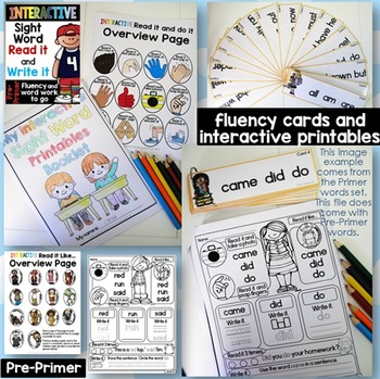 Interactive Sight Word Read it and Write it Fluency and Word Work Pre-Primer