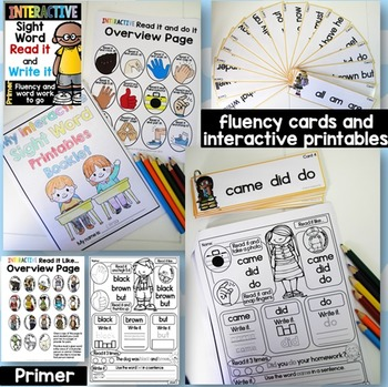 Interactive Sight Word Read it and Write it Fluency and Word Work Primer
