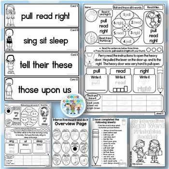 Interactive Sight Word Read it and Write it Fluency and Word Work Second Grade