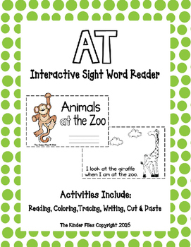 "Interactive Sight Word Reader- ""Animals AT the Zoo"""