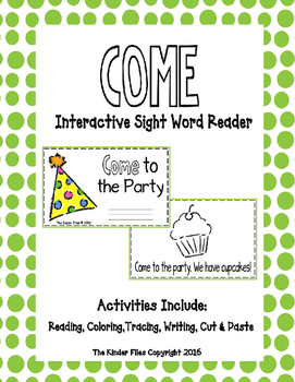 """Interactive Sight Word Reader- """"COME to the Party"""""""