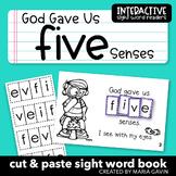 "Interactive Sight Word Reader ""God Gave Us FIVE Senses"""