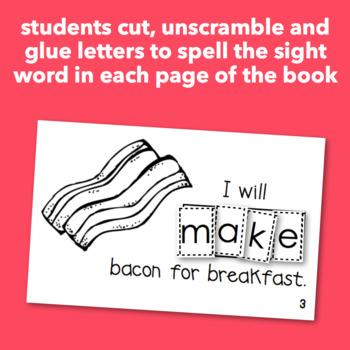 """Interactive Sight Word Reader """"I Will MAKE Breakfast"""""""