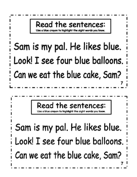 "Interactive Color Word Reader- ""Sam's BLUE Birthday"""