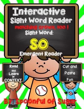 Interactive Sight Word Reader: Sight Word SO