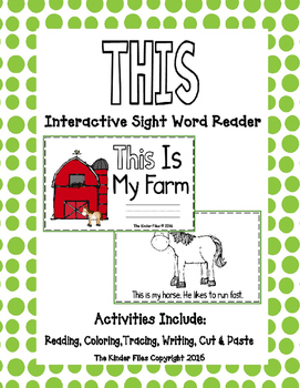 """Interactive Sight Word Reader- """"THIS Is My Farm"""""""