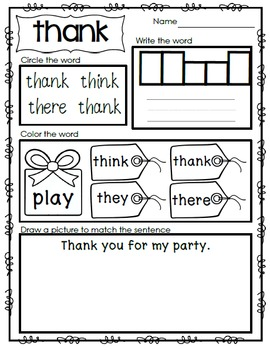 Interactive Emergent Sight Word Reader - THANK you for my gift