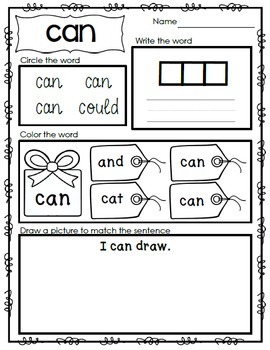 Interactive Emergent Sight Word Reader - The boy CAN skate