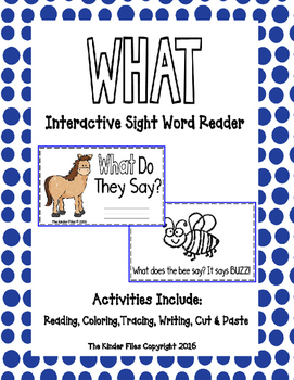 """Interactive Sight Word Reader- """"WHAT Do They Say?"""""""