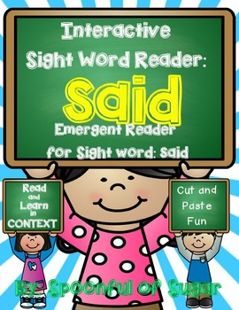 Interactive Sight Word Reader and Crown: Sight Word SAID