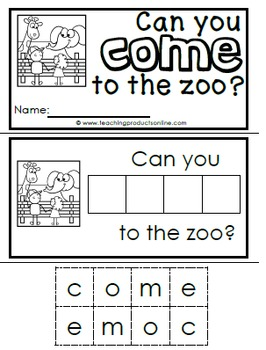 Interactive Emergent Sight Word Reader - can you COME to the zoo