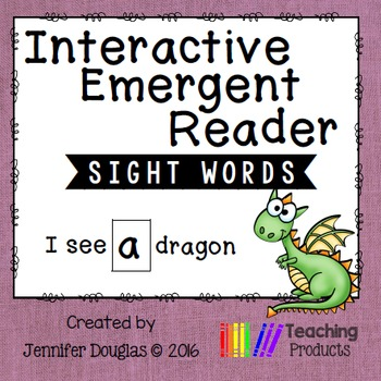 Interactive Emergent Sight Word Reader - i see A dragon