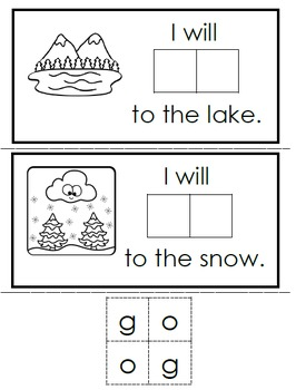 Interactive Emergent Sight Word Reader - i will GO to the zoo