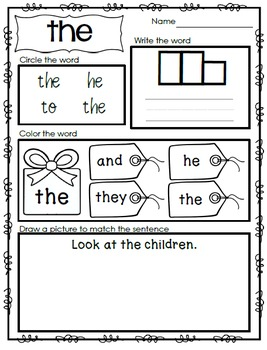 Interactive Emergent Sight Word Reader - look at THE fish