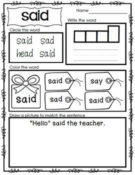 Sight Word Emergent Reader - Sight Word SAID