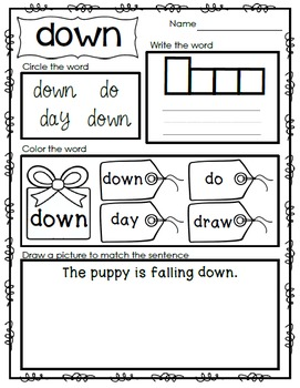 Sight Word Emergent Reader - Sight Word DOWN