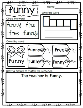 Sight Word Emergent Reader - Sight Word FUNNY