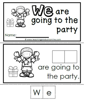Interactive Emergent Sight Word Reader - WE are going to the party