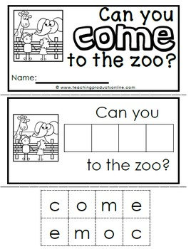 Interactive Emergent Sight Word Readers Bundle