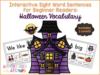 Interactive Sight Word Sentences for Beginner Readers:  Halloween Vocabulary