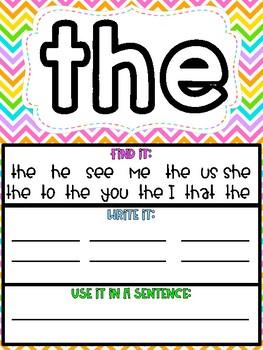 Interactive Sight Word Mats