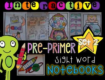 Interactive Sight Words Notebook Pre-Primer Set 2 Kindergarten