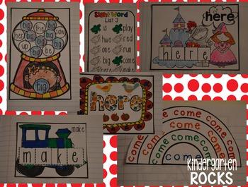 Interactive Sight Words Notebook Pre-Primer Set 3 Kindergarten