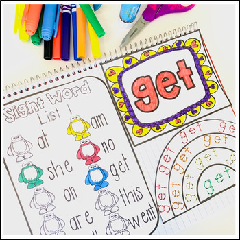 Sight Word Activities Interactive Notebook Primer Set 1