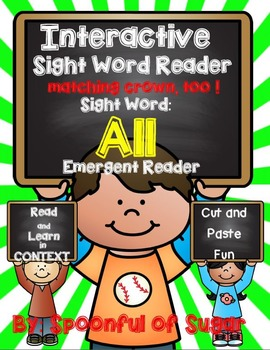 Interactive Sight word Emergent Reader: Sight Word ALL