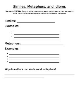 Interactive Simile and Metaphor Anchor Charts