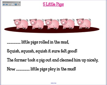 """Interactive Smartboard Poem Collection """"5 Little ___"""""""