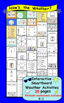 Interactive Smartboard Weather Activities with printables for K-1