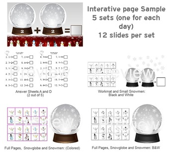Interactive Snowman Addition, PDF; Centers or Lesson.