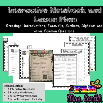 Interactive Spanish Notebook, Greetings, Farewells, Alphabet, Numbers and Time