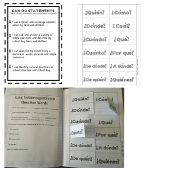 Interactive Spanish Notebook & Lesson Plan: Gustar, School and Question Words