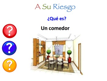 Spanish Rooms and Furniture Interactive Activity, Powerpoint Game