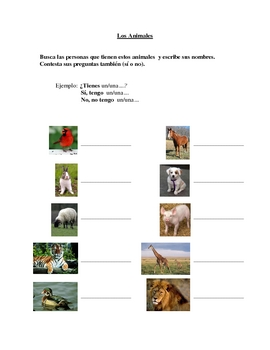 Interactive Spanish Speaking Activity with Animal Vocabulary
