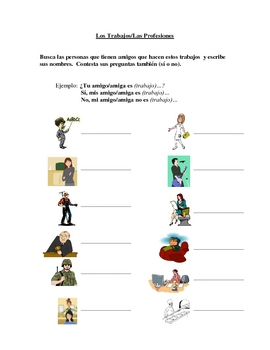 Interactive Spanish Speaking Activity with Jobs/Professions