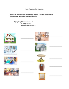 Interactive Spanish Speaking Activity with Room Furniture Vocabulary